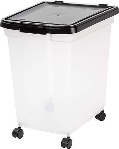 pet food container with wheels