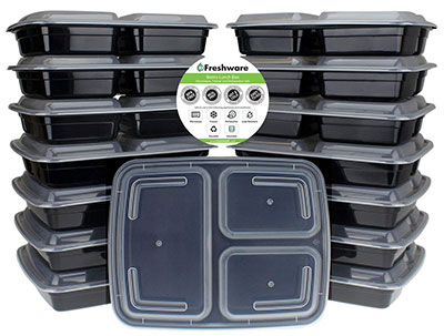 3 compartment meal prep containers