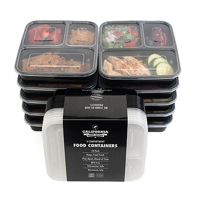 3 compartment food container plastic