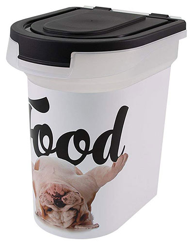 pet food storage container airtight 15-pound paw prints