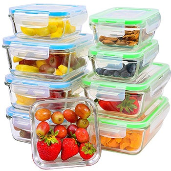 glass food storage containers with locking lids Product Introduction: Elacra glass food storage containers with locking lids are made of durable borosilicate glass that won't break or crack in short time like tempered glass. Our high quality, heat-resistant glass keeps your food safe from outside chemicals, while our BPA free snap lids effectively protect from bacteria. The manufacturer designed these glass food storage containers with an air tight locking system that allows you to store food, leftovers, snacks, flours, liquid pre-made meals, and even soups & liquids without any tumbles. The leak-proof lids keep your food fresher for a long time, you can be taking snacks to sports events or lunch to work or school. Product Description: These stackable glass food storage containers with locking lids that keep your fridge neat & organized and make meal prep a breeze! this 9-piece glass food storage containers set are 5 sizes for more food storage & portion control options. Features: • These glass food storage containers often chip & shatter easily, shedding glass in your food and turning your kitchen into a danger zone. • don't settle for glass & plastic storage containers that claim to be leak-proof but just end up causing a mess. • This glass containers with lids have snap lids that are not difficult to open and close it. • stackable containers that keep your fridge neat & organized and make food storage a breeze. • This set healthiest & highest facility that free of chemical food storage solutions for you. Product Diminution and Quantity: This 9-piece glass food storage containers set includes 5 sizes for food storage & portion control options: • 4 rectangular shape (2 large + 2 small) • 5 squares shape (1 large + 2 medium + 2 small) • plus 9 color-coordinated locking lids. Pros: • Easy portability • It a great bento box, too! • Food preparation and kitchen storage • you can use it freezer containers & bento boxes for adults. • You can use also as it picnics basket. • Easy to use for children and senior's family member. • The set has blue and green glass food storage containers Cons: • The only undesirable is that the lids are sometimes delicate to snap closed. But if you careful, it doesn't matter.
