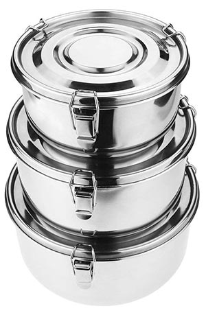Commercial stainless steel food storage containers
