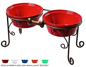 Raised dog feeding bowls