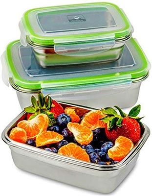 Stainless steel food containers with lids