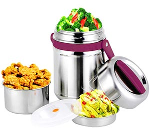 Stainless steel insulated food containers
