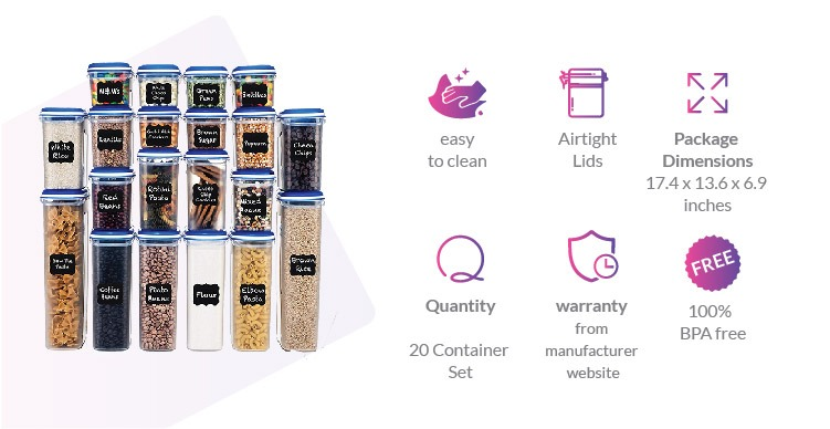 Food storage containers for flour and sugar