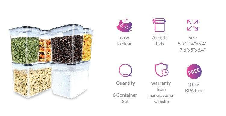 Tall plastic food storage containers